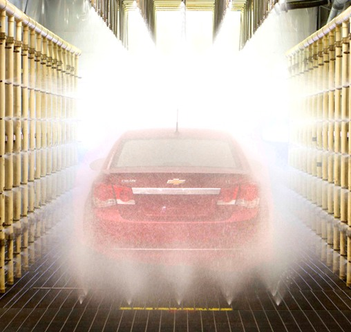 Chevrolet Cruze going through high-tech weather testing simulator