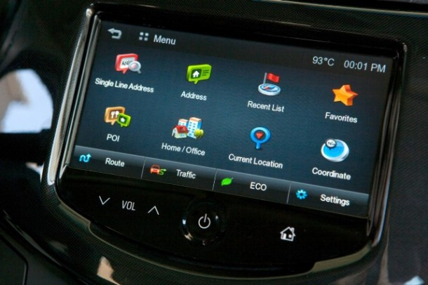 The Chevrolet Spark features the new BringGo embedded smartphone navigation app for a one-time cost of $50, with its MyLink infotainment system and full-color, seven-inch touch screen radio – nearly double the size of any other vehicle in the segment. (Photo by John F. Martin for Chevrolet)